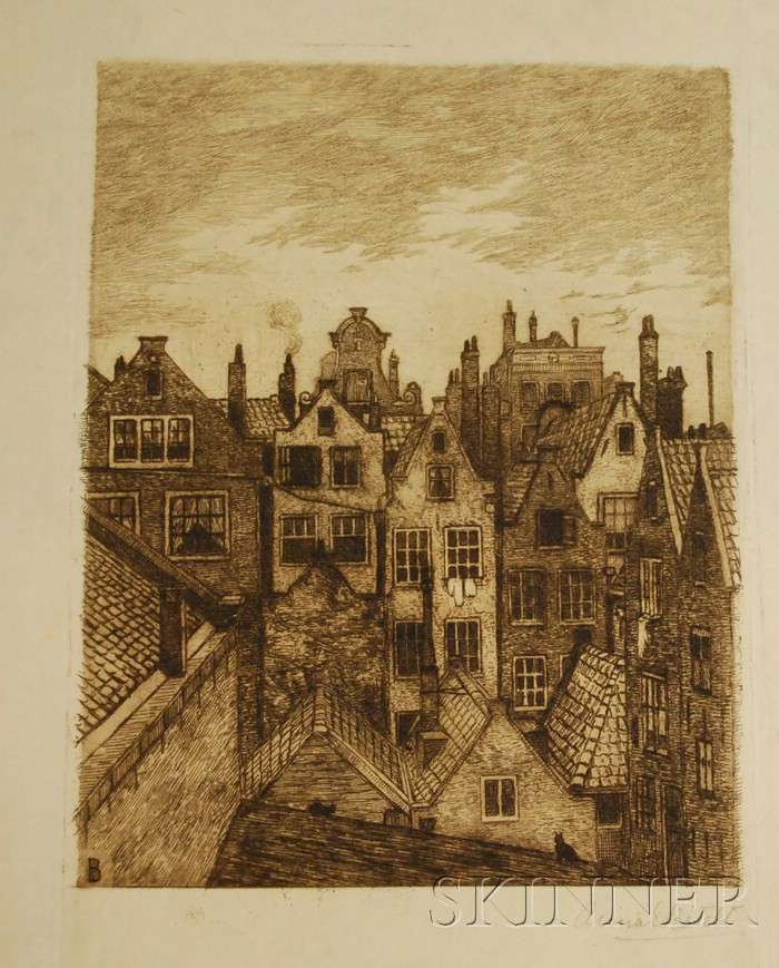 Lot of 55 Unframed Etchings by Anna Elisabeth Batelt (Continental, b. 1869)      Various subjects, many images with multiples.