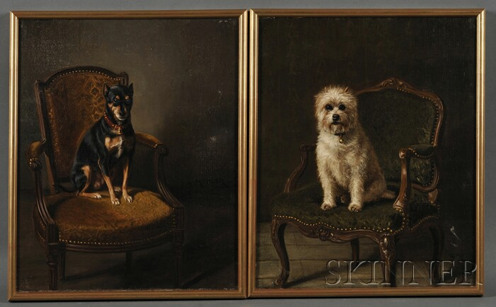 Gustave-Jean-Louis Mohler (French, 1836-1920)      Pair of Portraits of Dogs Seated on Upholstered Armchairs: Terrier