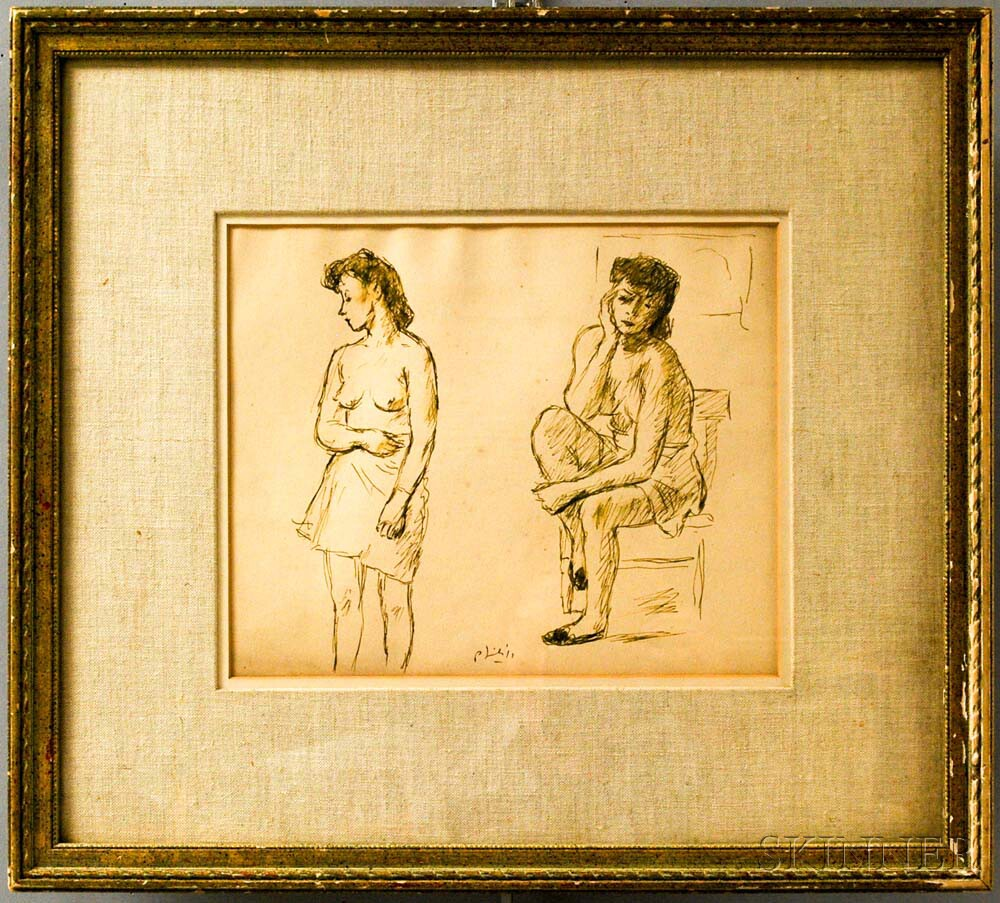 American School, 20th Century      Figure Study: Two Draped Nudes