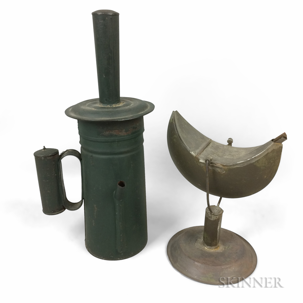 Green-painted Tin Whaling Torch and a Gimballed Oil Lamp