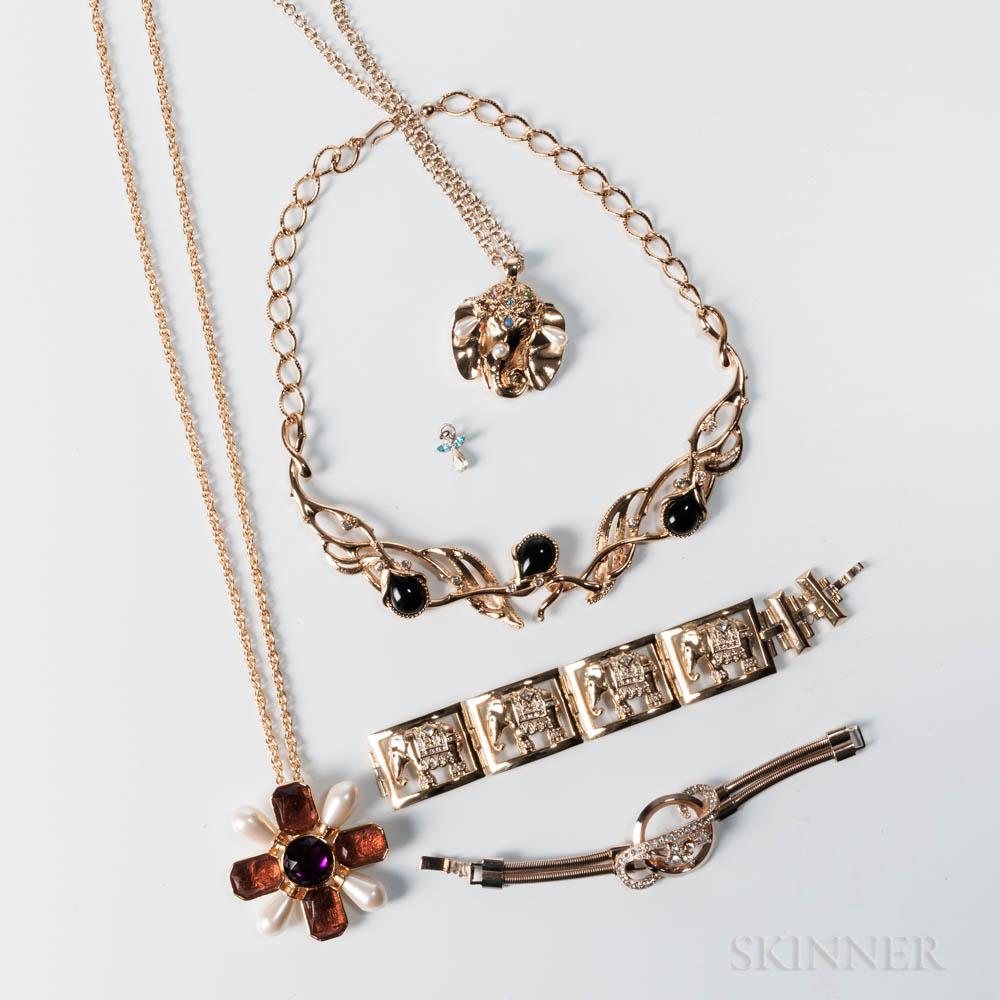 Group of Gold-tone Designer Costume Jewelry