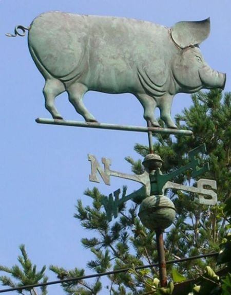 Patinated Copper Pig Weather Vane