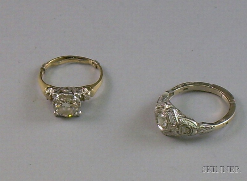 Two Art Deco 14kt Gold and Diamond Rings