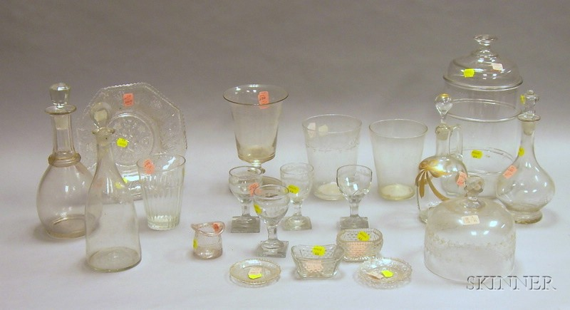 Fifteen Pieces of Colorless Blown Glass