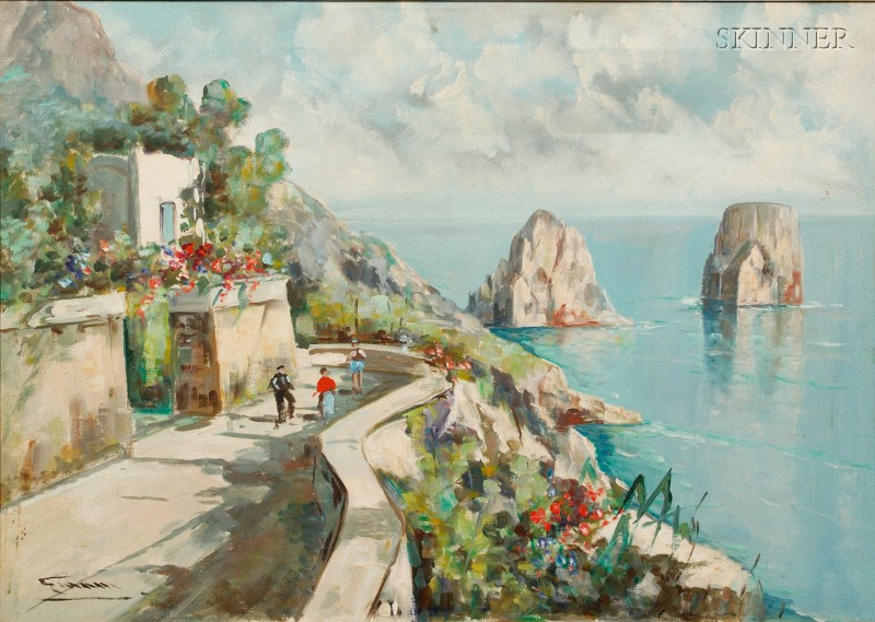Giovanni Colognese (Italian, b. 1901)      Overlooking the Bay of Naples