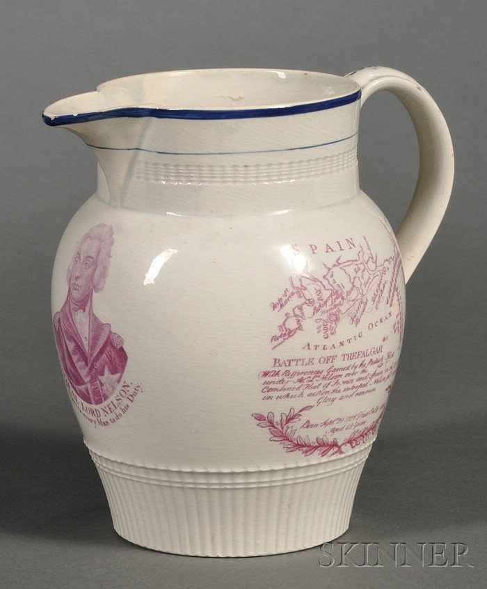 Admiral Lord Nelson Pearlware Commemorative Jug