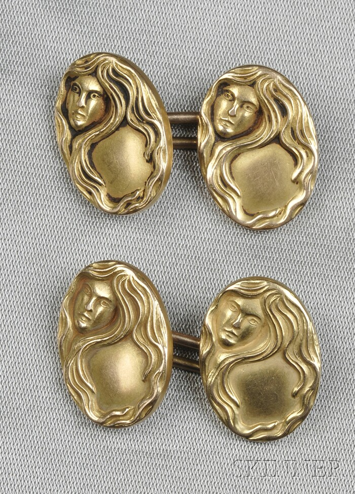 Art Nouveau 14kt Gold Cuff Links, Carrington & Co.