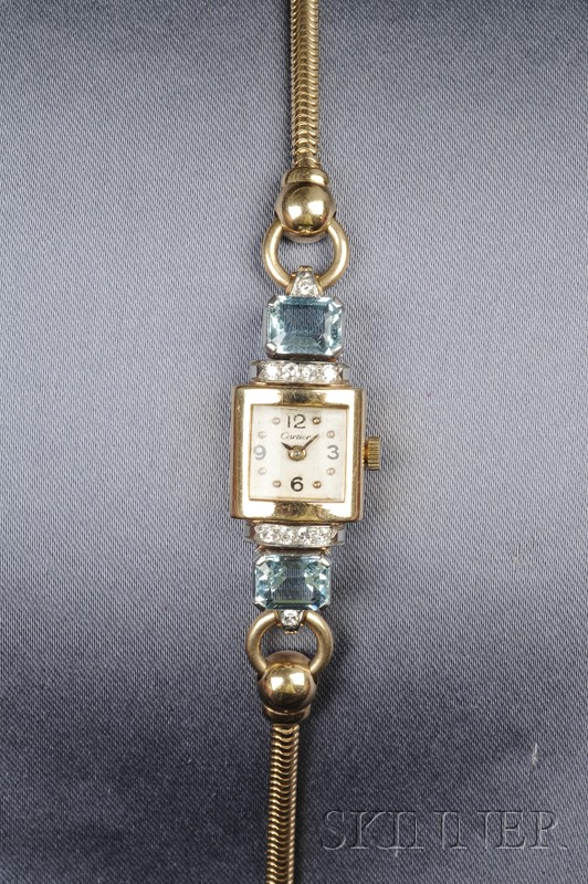 Retro Lady's 14kt Gold, Aquamarine, and Diamond Wristwatch, Cartier