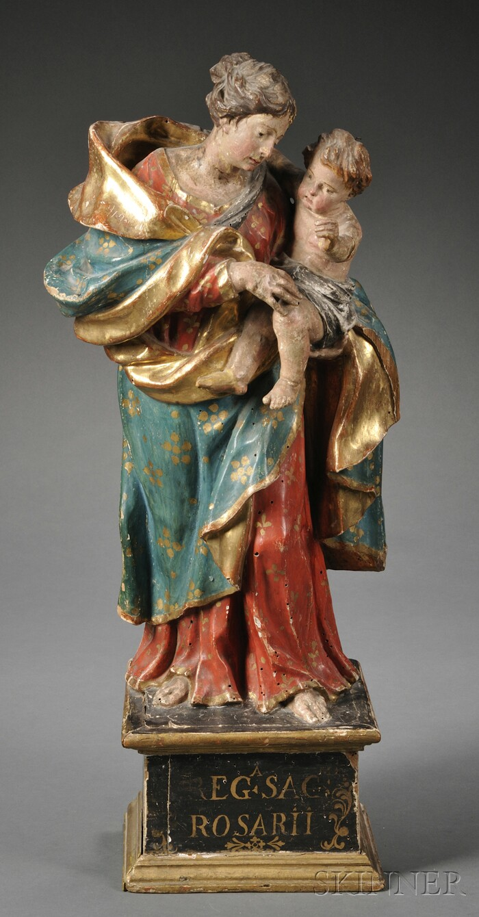 Baroque-style Carved and Painted Wood Figural Group of the Madonna and Child