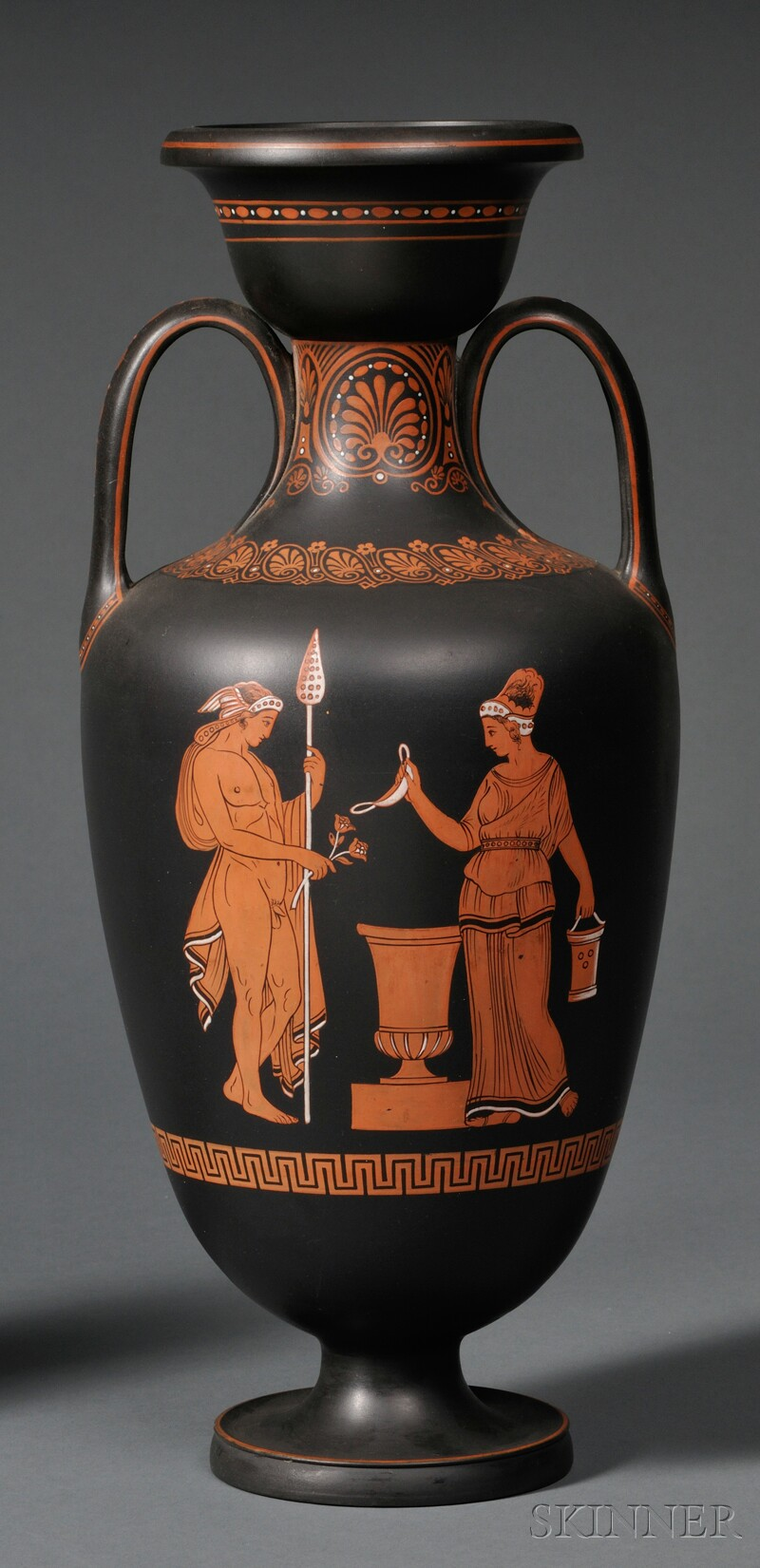 Wedgwood Encaustic-decorated Black Basalt Vase