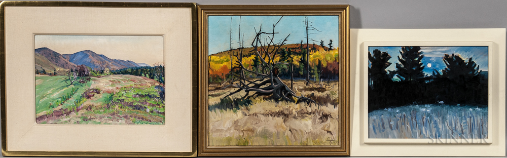 Christopher Huntington (American, b. 1938)      Three Paintings: Autumn Landscape with Fallen Tree ,  Morning Sunrise Valley