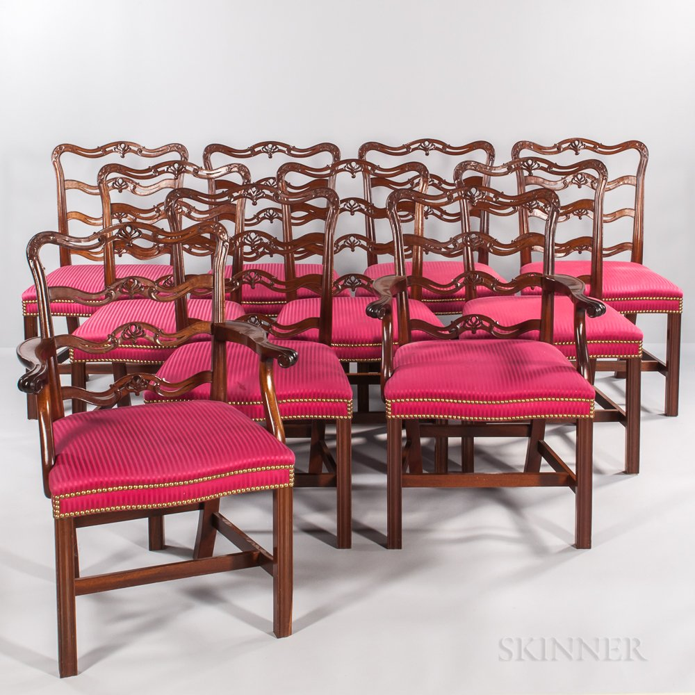 Set of Ten Chippendale-style Dining Chairs