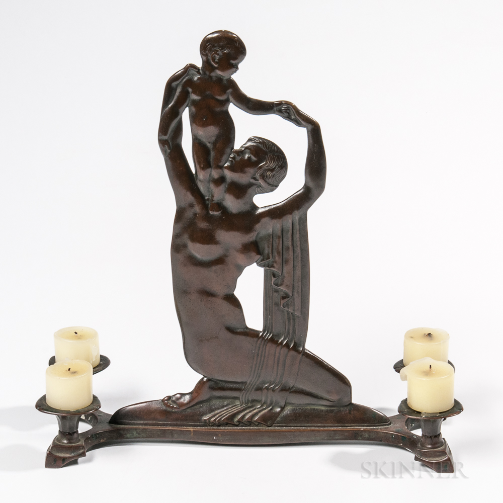 Emory Pius Seidel (American, 1881-1954) Patinated Bronze Candelabrum