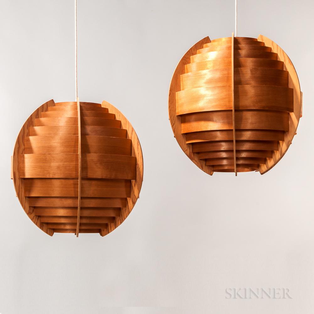 Two Hans-Agne Jakobsson for AB Ellysett Wood Pendant Globe Lamps