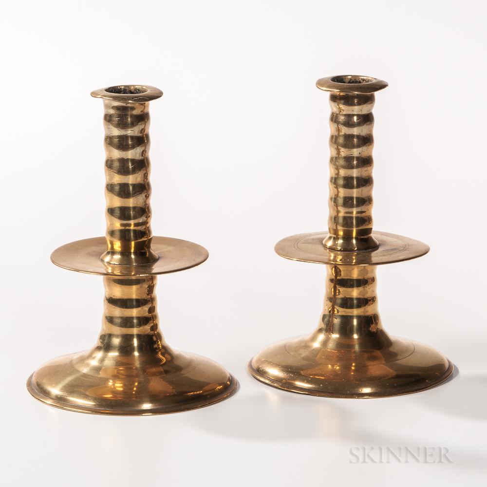 Pair of English Trumpet-base Mid-drip Candlesticks