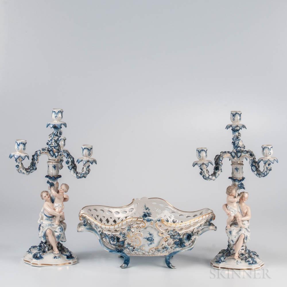 Assembled Three-piece German Porcelain Garniture