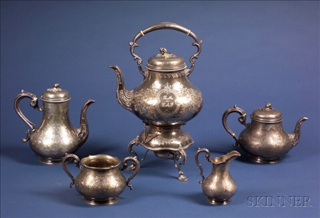 Four Piece Victorian Silver Tea and Coffee Service with Matching Electroplate Kettle