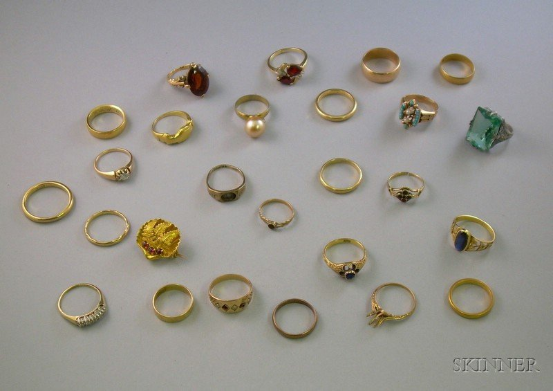 Twenty-three 10kt, 14kt, and 18kt Gold Rings and Bands