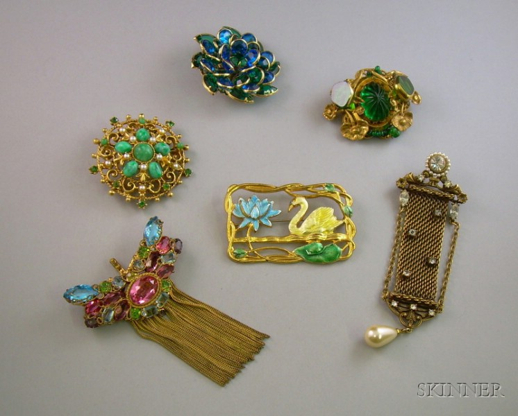 Six Vintage Costume Brooches