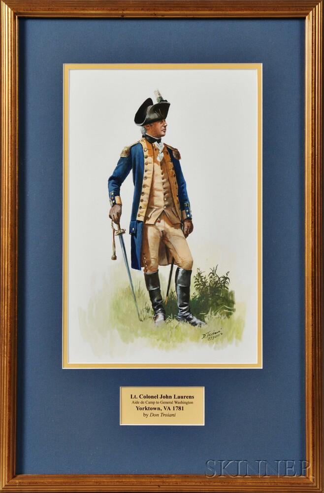 Framed Original Don Troiani Watercolor Figure Study of Lt. Col. John Laurens