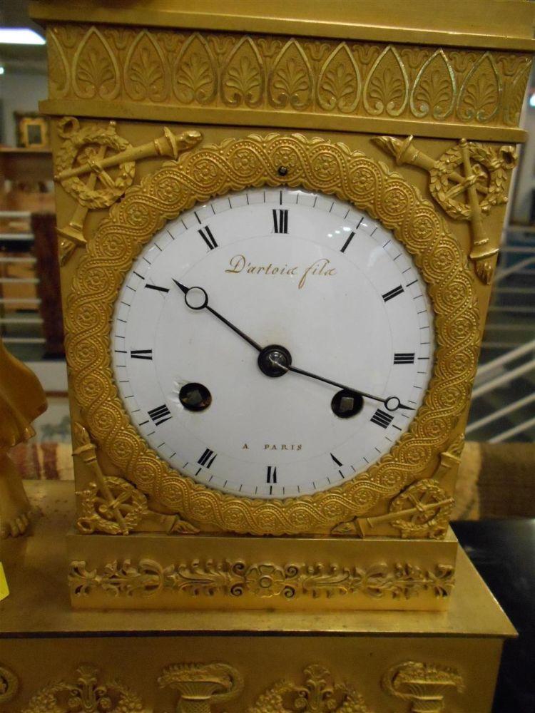 Empire Gilt-bronze Figural Mantel Clock
