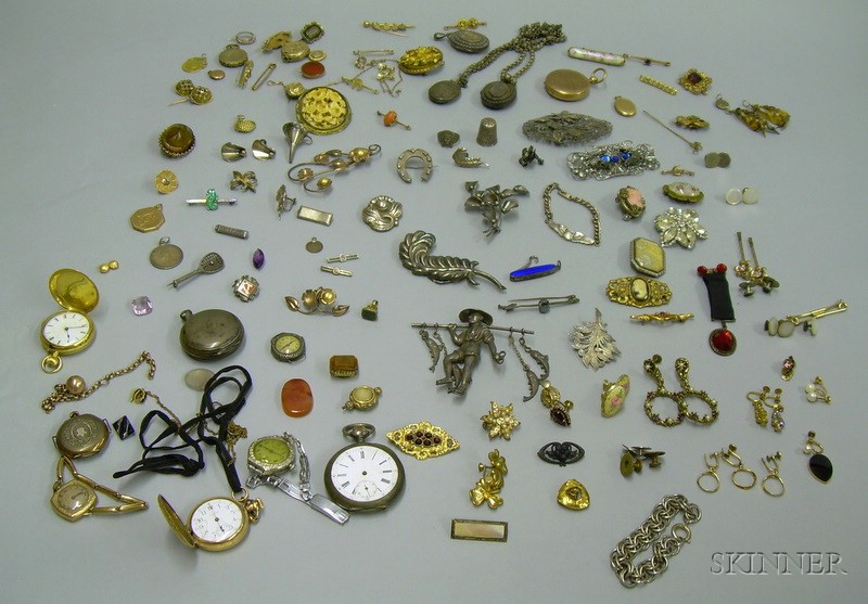 Large Assortment of Victorian and Later Gold, Gold-filled, and Sterling Silver Jewelry, Watches,   and Findings