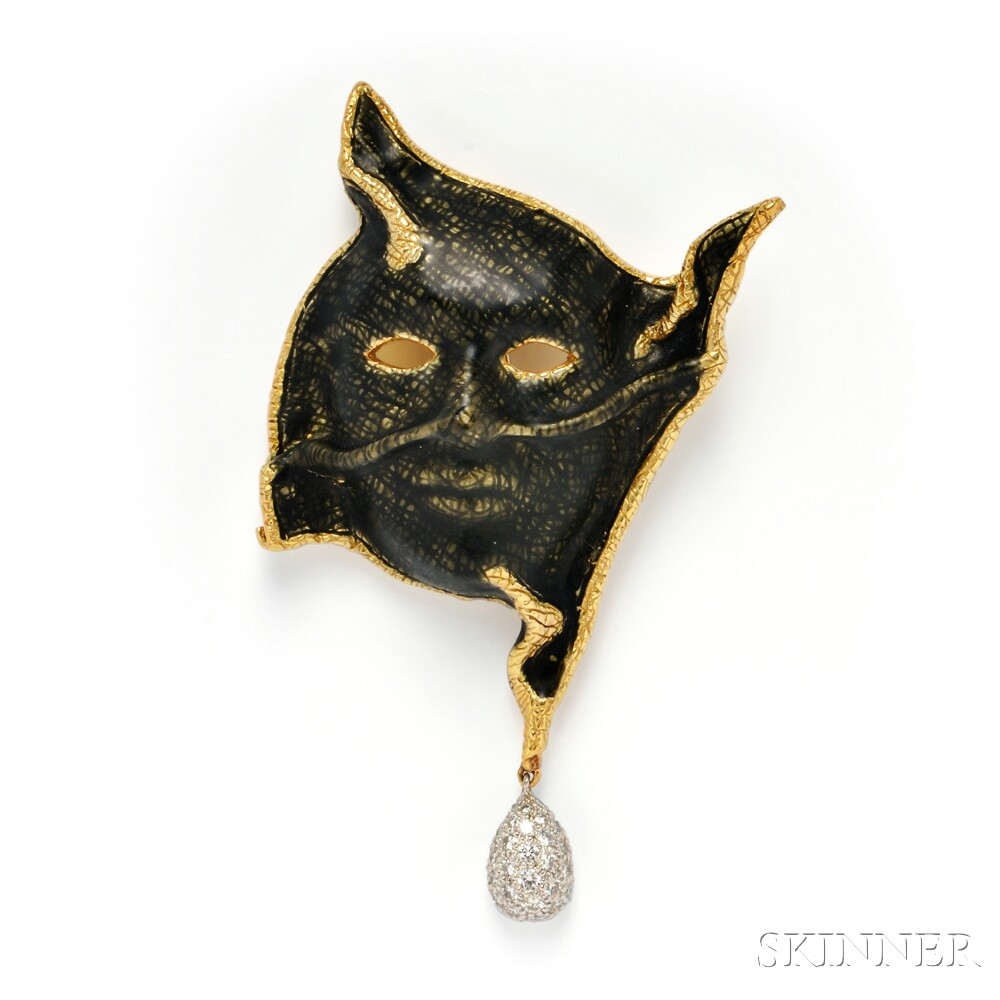 18kt Gold, Enamel, and Diamond Clip Brooch, Angela Cummings