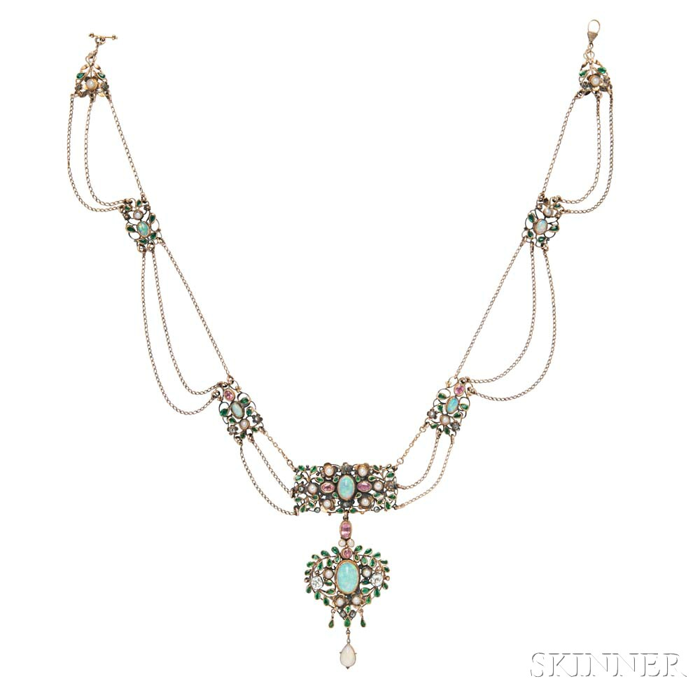 Arts and Crafts Gold Gem-set Necklace, Arthur and Georgie Gaskin
