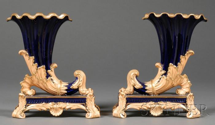 Pair of Enameled Porcelain Cornucopia-shaped Vases