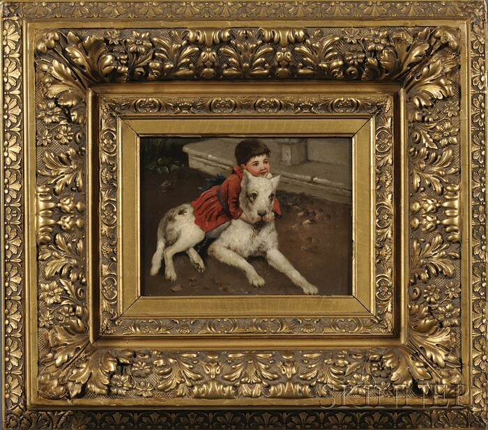 British School, 19th Century      Boy in Red Embracing His Dog