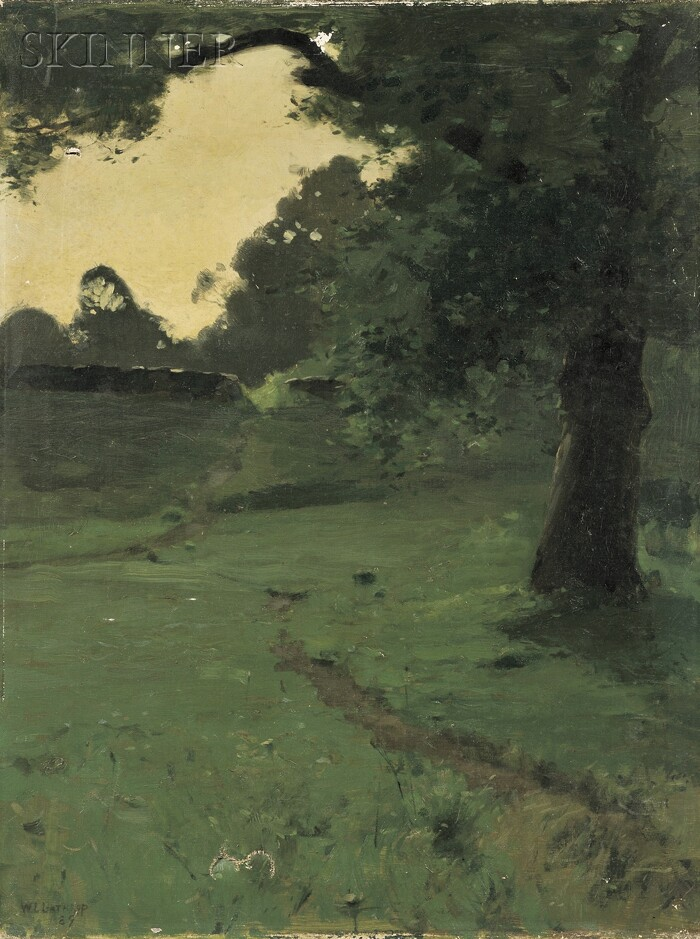 William Langson Lathrop (American, 1859-1938)      View of a Path Through a Glade at Dusk