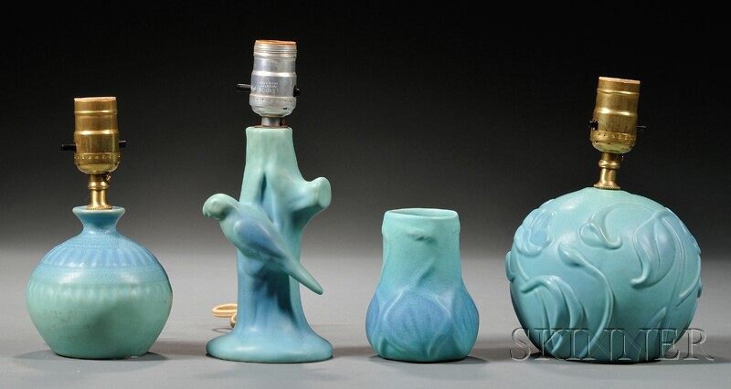 Three Van Briggle Matte Turquoise Glazed Art Pottery Table Lamps and a Vase