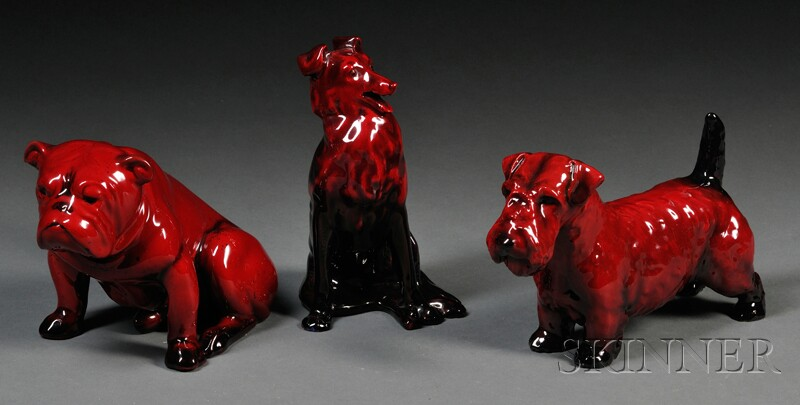 Three Royal Doulton Flambe Dogs