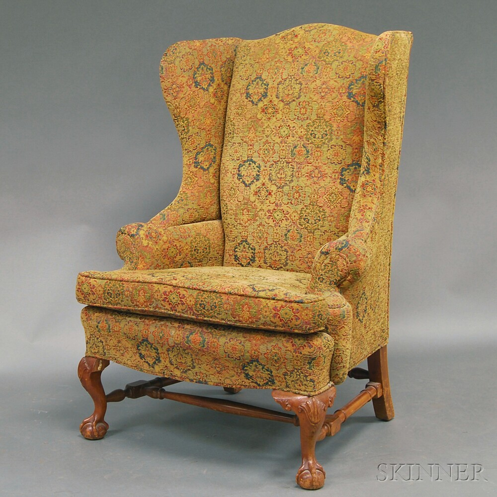 Chippendale-style Mahogany and Upholstered Wing Chair