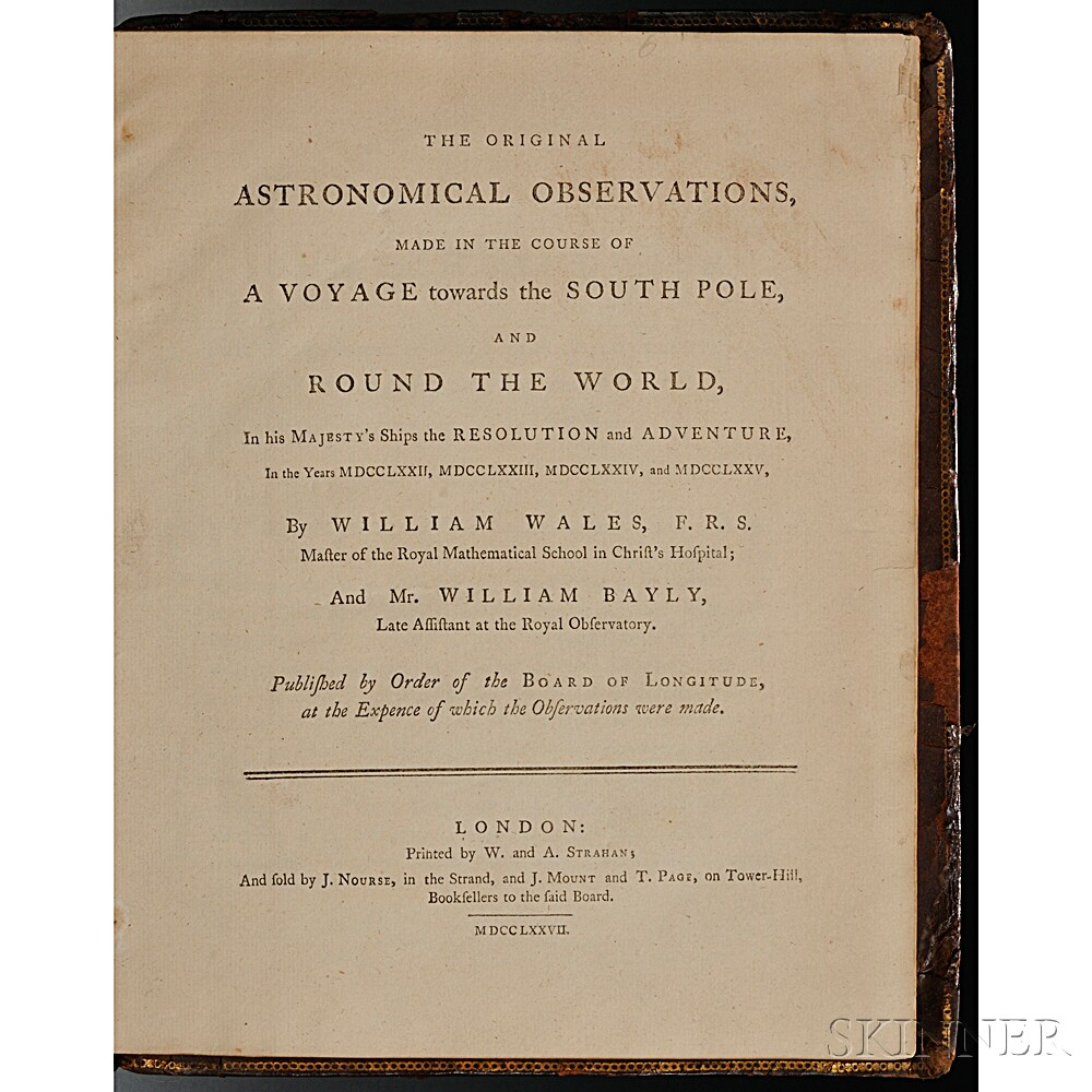 Wales, William (1734?-1796) The Original Astronomical Observations Made in the Course of a Voyage towards the South Pole, and Round the