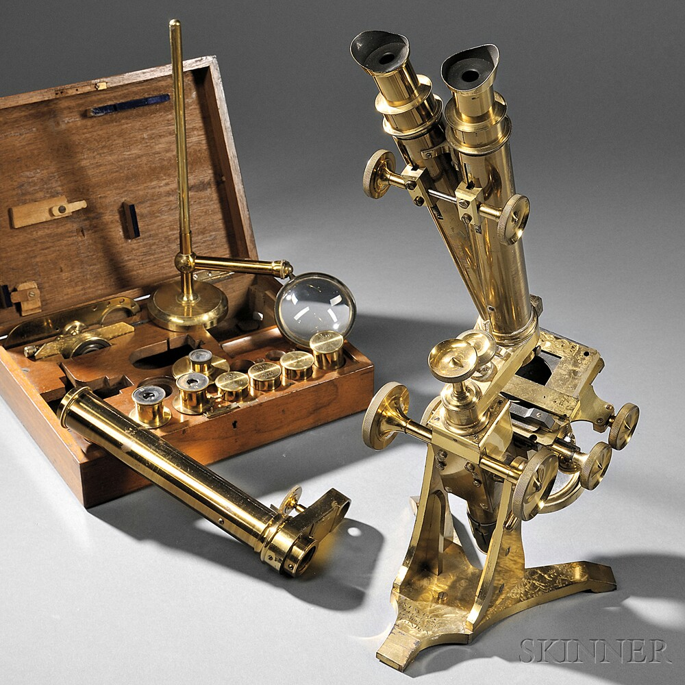 Newton & Co. Lacquered Brass Monocular/Binocular Compound Microscope