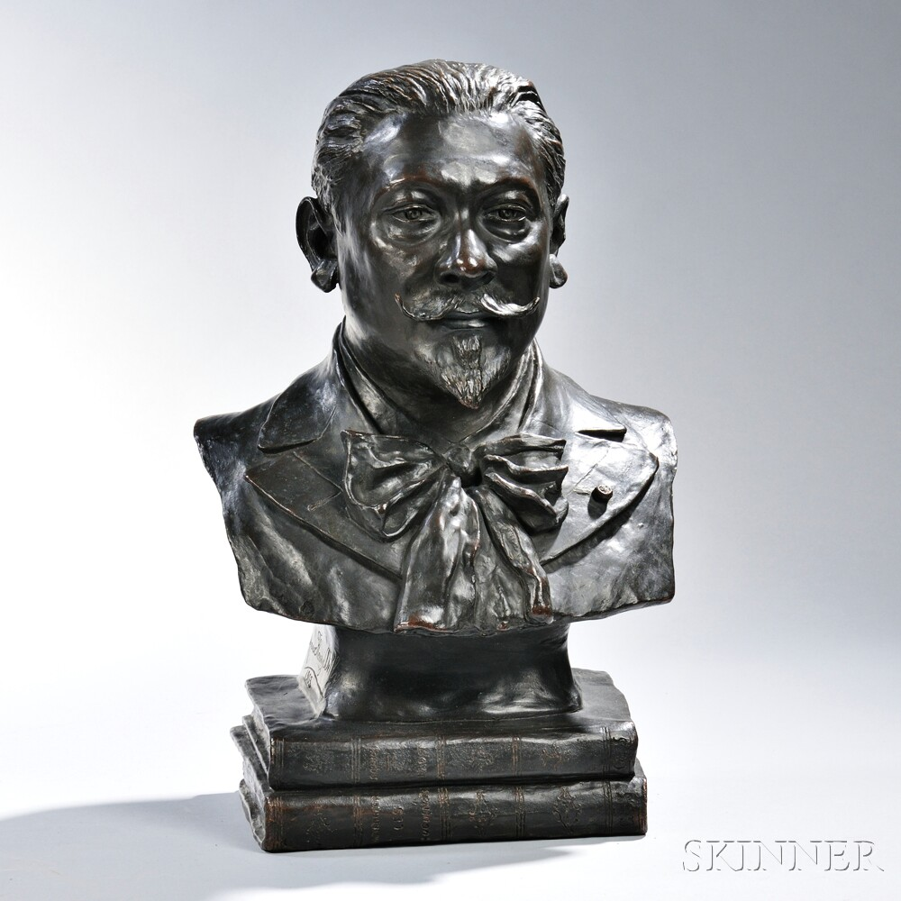 French School, Early 20th century,  Bronze of Mario De Candia,D, signed indistinctly on base Anna Fleury Dilly 1903, inscribed on bas