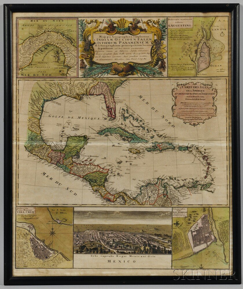 Gulf of Mexico, Caribbean, Central America: Two Framed Maps.