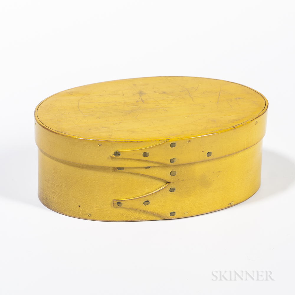 Yellow-painted Oval Shaker Pantry Box