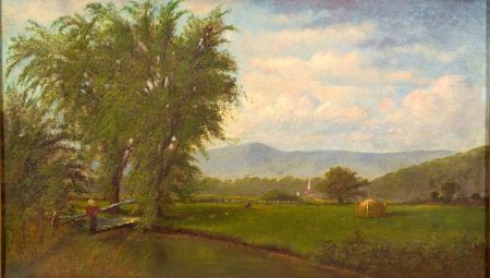 American School, 19th Century    Fishing in a Valley Brook/A White Mountain View