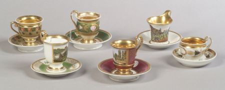 Group of Six European Porcelain Cups and Saucers
