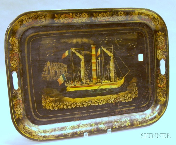 Gilt Stenciled Steam-powered Vessel Decorated Painted Tole Tray.