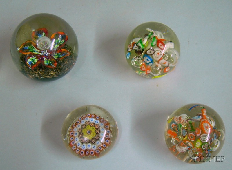 Four Internally Decorated Paperweights