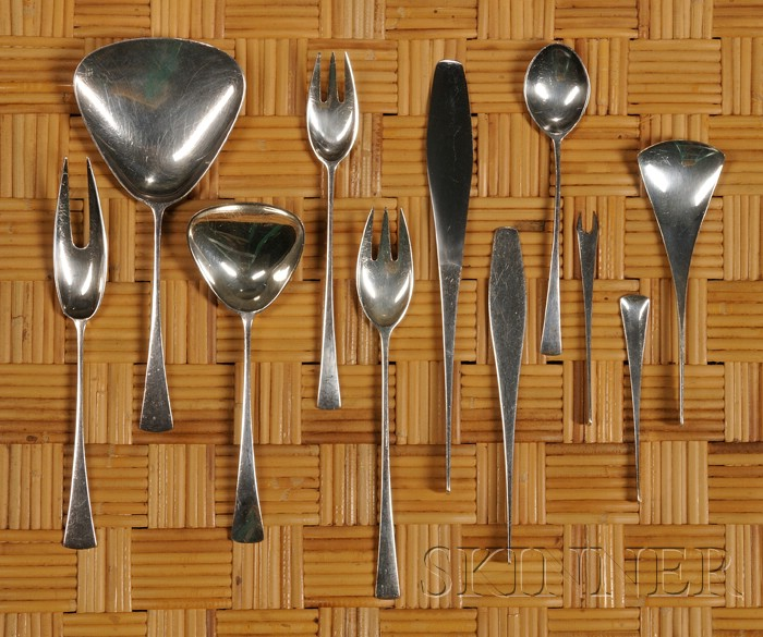Jens Quistgard Torn Flatware Service with Serving Pieces