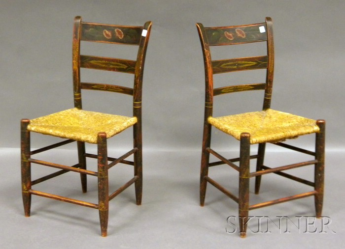 Pair of Windsor Polychrome Paint-decorated Thumb-back Side Chairs