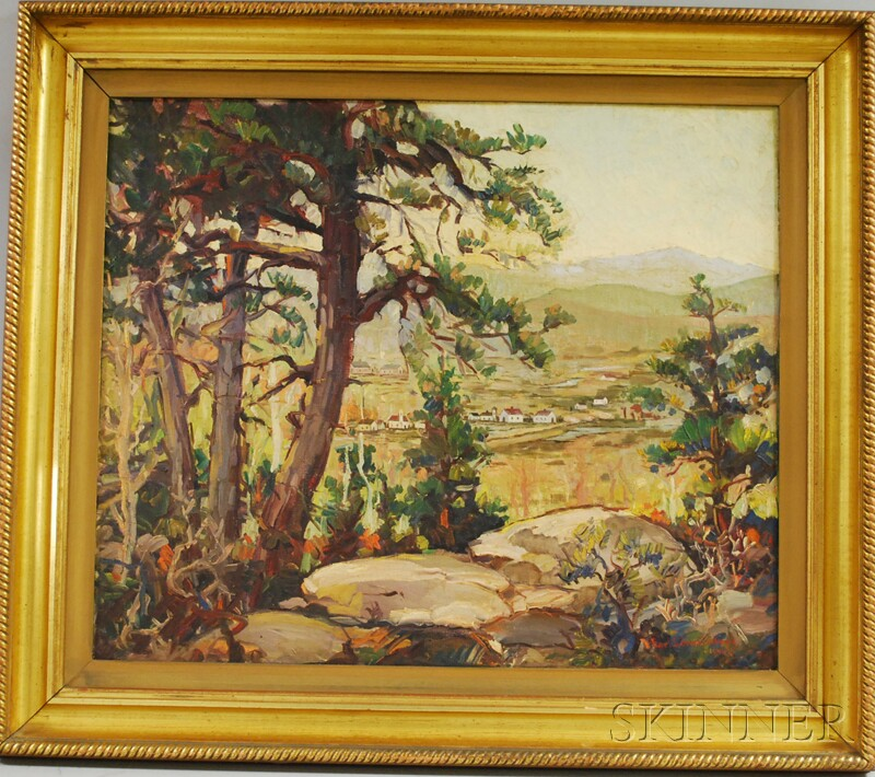 Earl C. Schwartzkopf (American, 1888-1968)      Landscape with Houses.