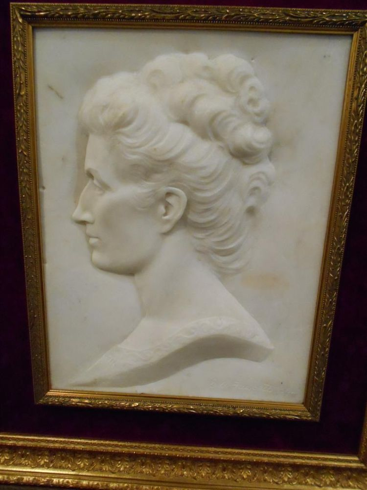 English School, Late 19th Century       White Marble Portrait Plaque of a Woman