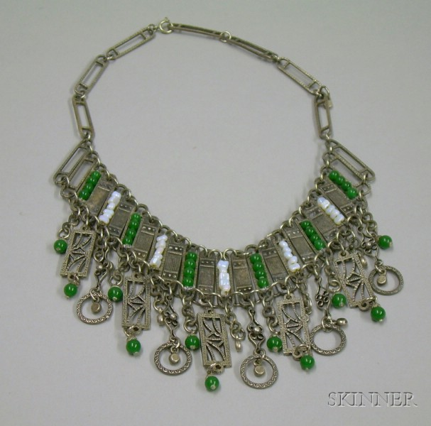 Silver and Glass Bead Fringe Necklace