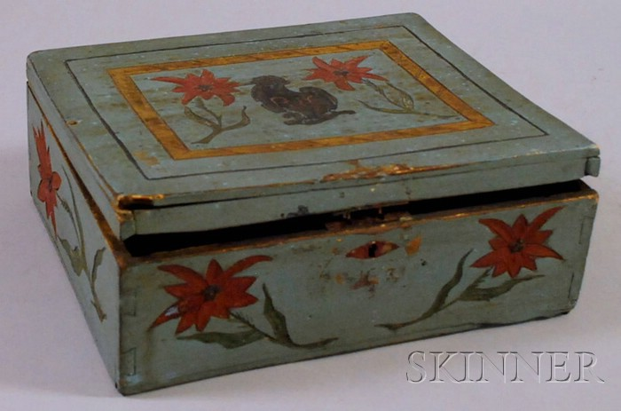 Polychrome Painted Carved Wood Dovetail-constructed Lidded Box