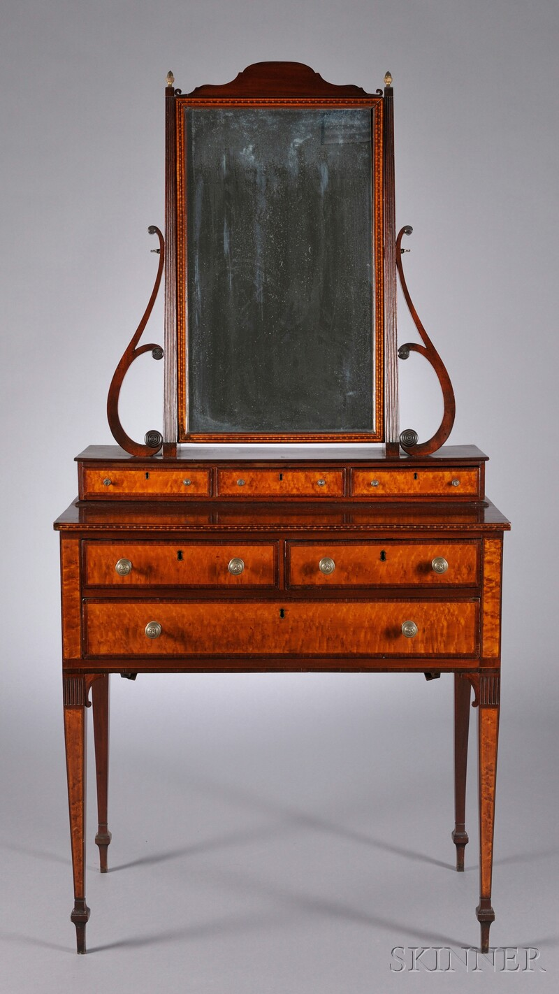 Federal Carved Mahogany and Bird's-eye Maple Veneer Dressing Chest with Mirror